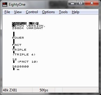 CLISP interpreter loading the text file and then running in interactive mode