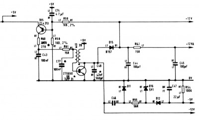 ZX Spectrum Issue 3 DC/DC converter circuit schematic