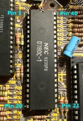 Z80 CPU in DIL 40 pin plastic package showing pin numbering